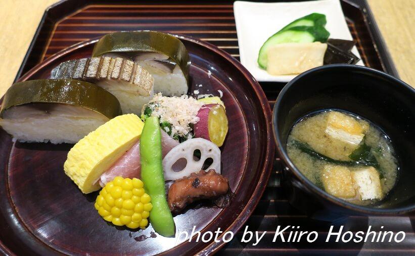 京都駅はしたて、鯖寿司セット