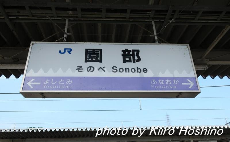 青春18京都・若狭、園部駅看板