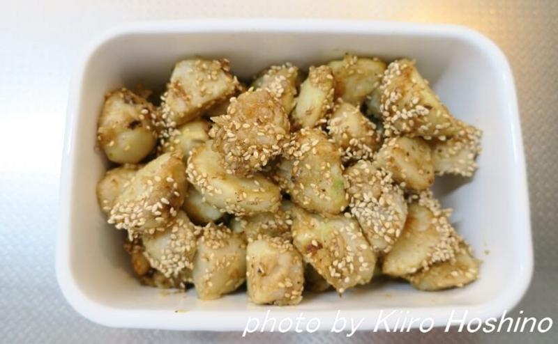 作り置き10.14、里芋の甘辛ごま焼き