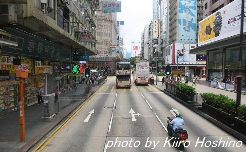 香港乗り物、2階建てバス車内から