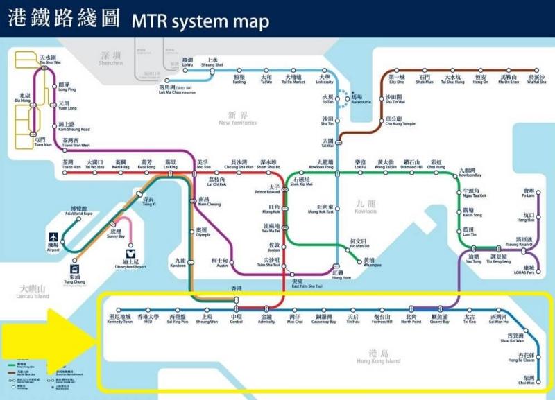 香港乗り物、MTR路線図(トラム)