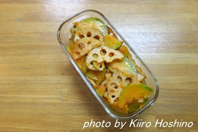 作り置き11.25、レンコンとかぼちゃのケチャップサラダ