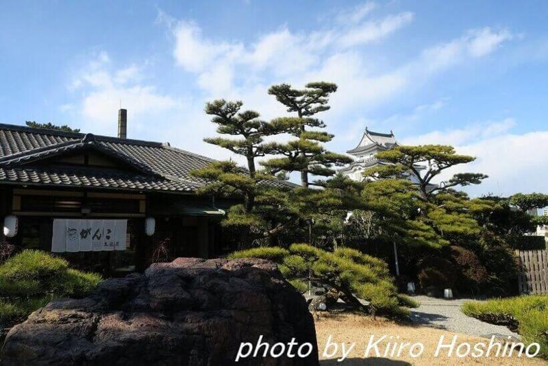がんこ岸和田五風荘、入口とお城
