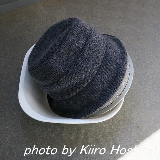 冬帽子、手洗い干し