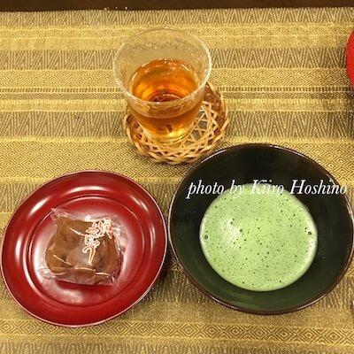 信貴山1日目、お抹茶