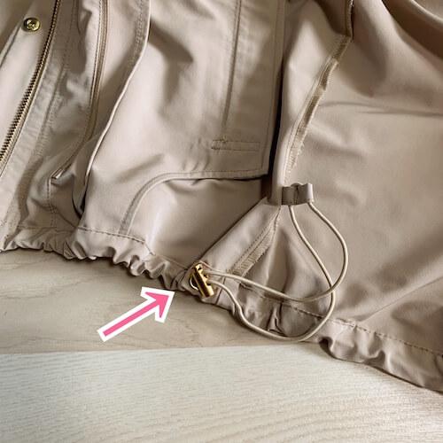 PLST(プラステ)マウンテンパーカー、裾の絞りひも