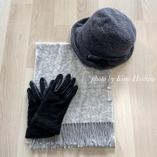 冬のファッション小物、帽子・マフラー・手袋
