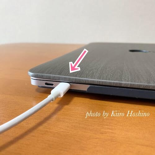 MacBookケース、USB端子